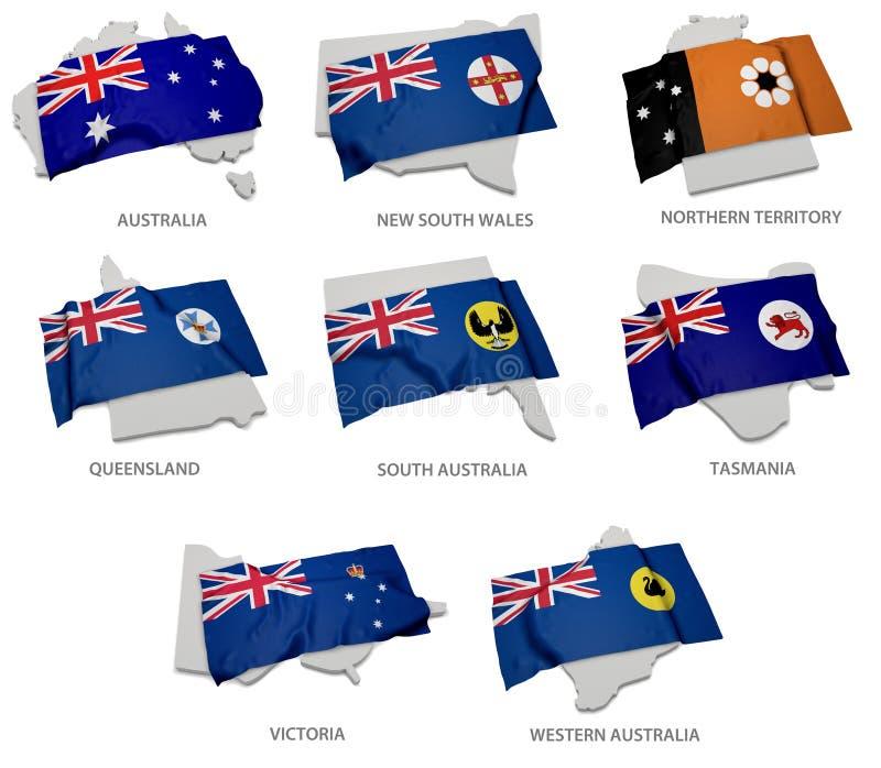 Een inzameling van de vlaggen die de overeenkomstige vormen van de Australische staten behandelen royalty-vrije illustratie