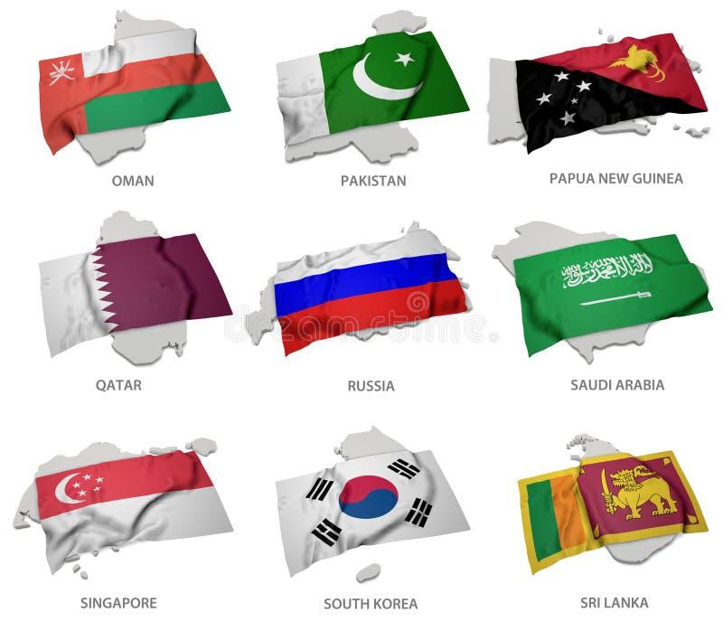 Een inzameling van de vlaggen die de overeenkomstige vormen van sommige Aziatische staten behandelen royalty-vrije illustratie