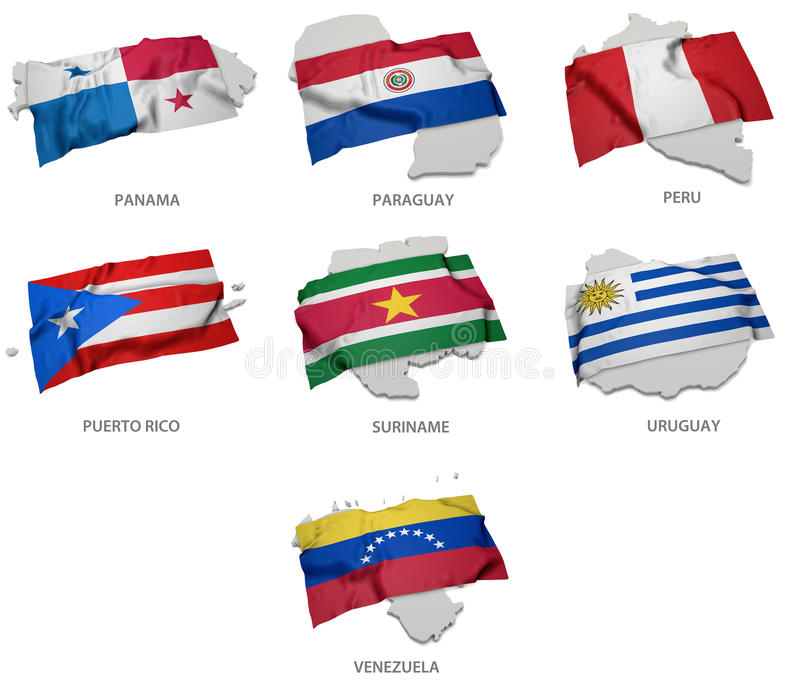 Een inzameling van de vlaggen die de overeenkomstige vormen van sommige Zuidamerikaanse staten behandelen stock illustratie