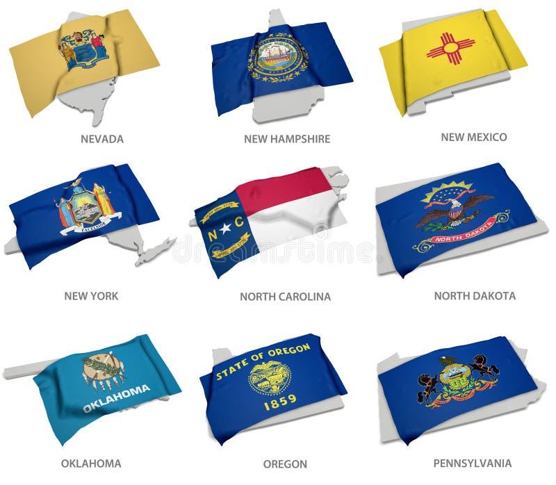 Een inzameling van de vlaggen van Nevada, New Hampshire, New Mexico, royalty-vrije illustratie
