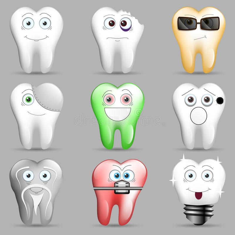 Een inzameling van grappige toothy smileys royalty-vrije illustratie
