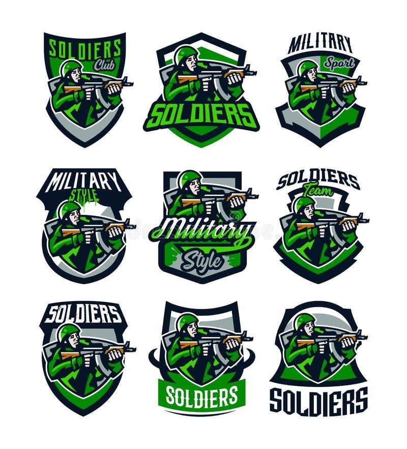 Een inzameling van kleurrijke emblemen, kentekens, emblemen van een militair die van een aanvalsgeweer schieten Militair in eenvo royalty-vrije illustratie