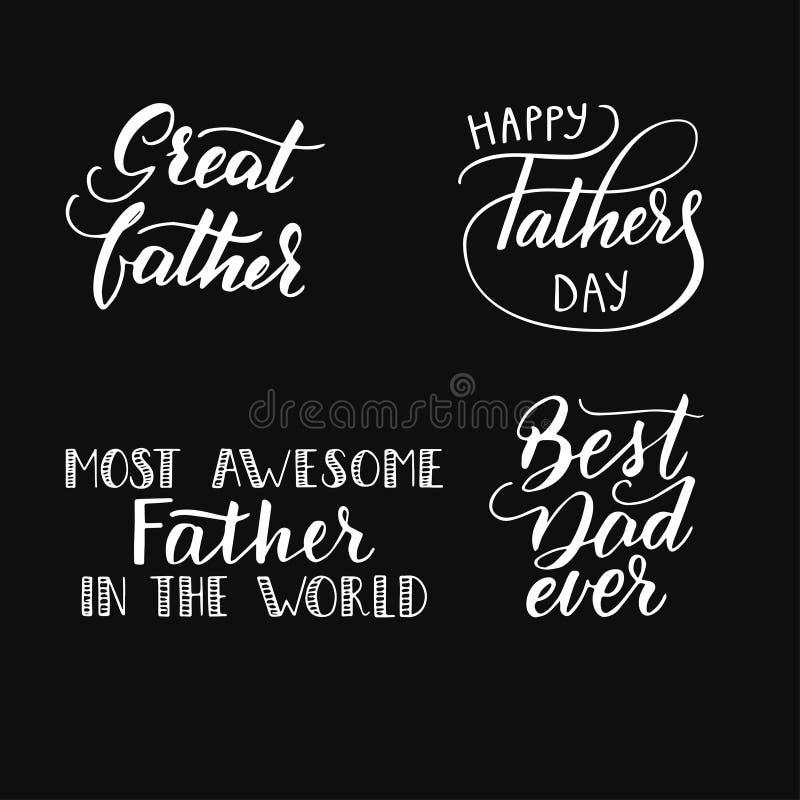 Een inzameling van met de hand geschreven uitdrukkingen voor de vader stock illustratie