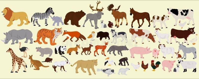 Een inzameling van verschillende landbouwbedrijfdieren, Afrikaan en Australiër vector illustratie