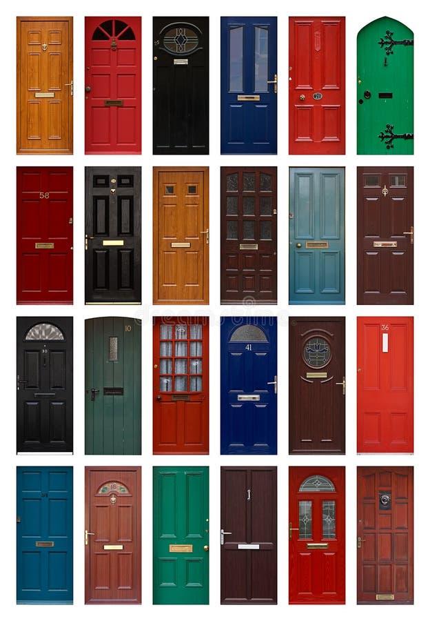 Geïsoleerdee voordeuren stock afbeelding