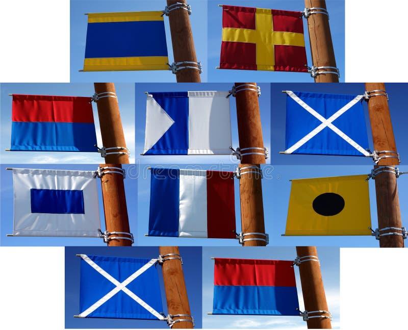 Een inzameling van zeevaartsignaalvlaggen royalty-vrije stock fotografie