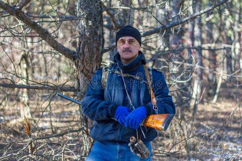 Een jager in een pijnboombos zoekt een vos stock afbeeldingen