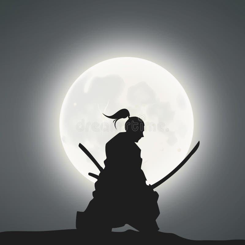 Een Japanse Zwaardvechter onder het Maanlicht royalty-vrije illustratie