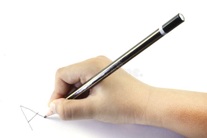 Een jong geitje` s hand met een potlood stock foto's