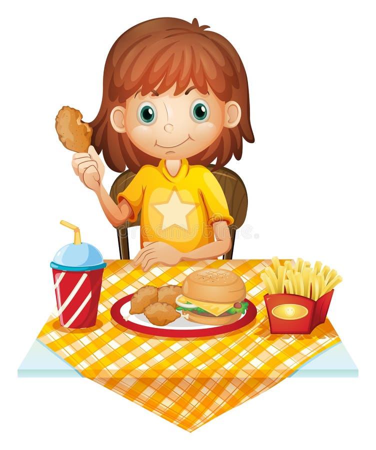 Een jong meisje die bij het fastfood restaurant eten vector illustratie