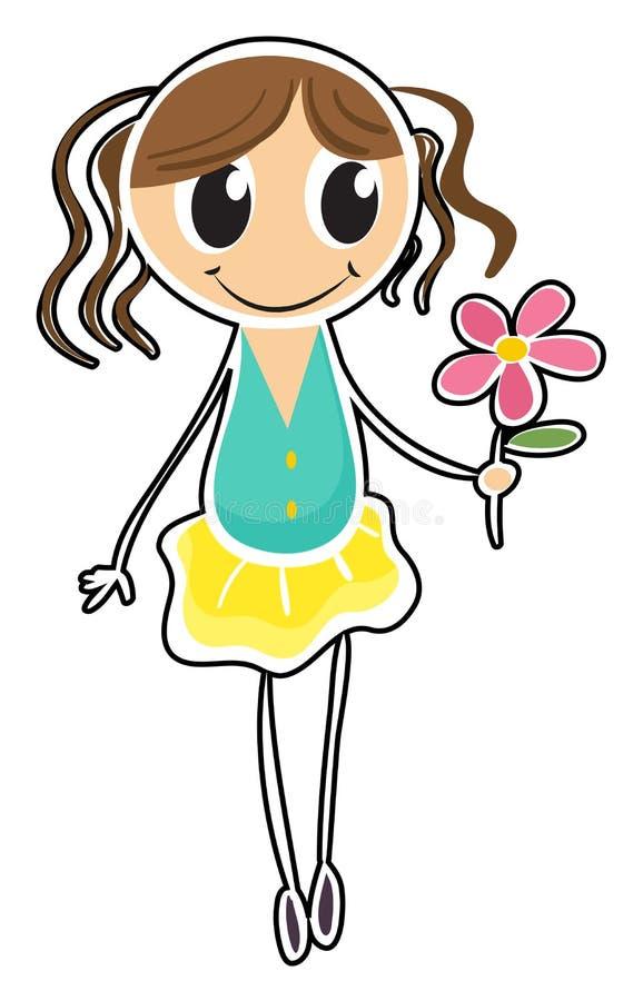 Een jong meisje die een bloem houden royalty-vrije illustratie