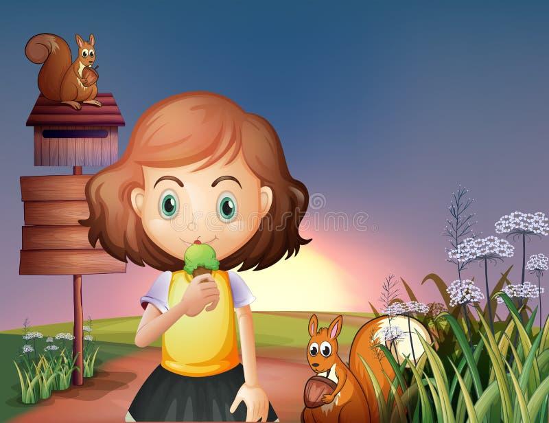 Een jong meisje die een roomijs in de heuvel met een uithangbord eten en vector illustratie