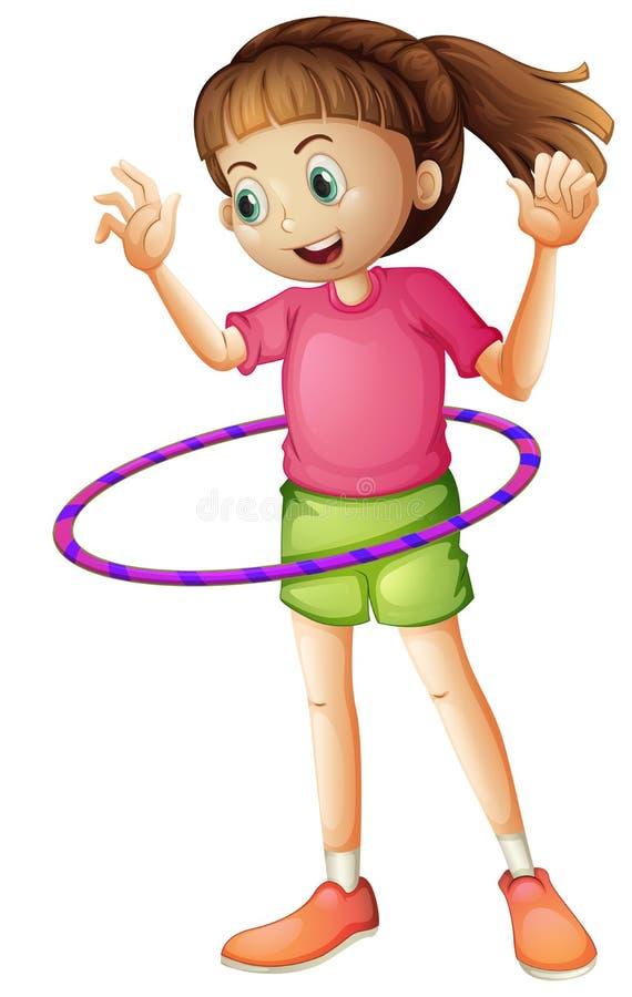 Een jong meisje die hulahoop spelen royalty-vrije illustratie