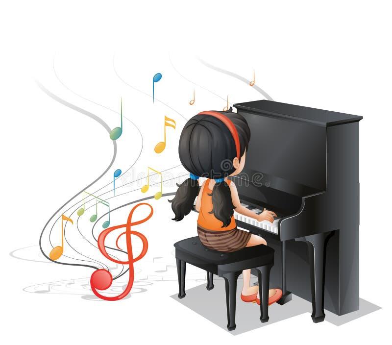 Een jong meisje die met de piano spelen royalty-vrije illustratie