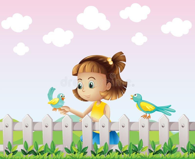 Een jong meisje die met de vogels dichtbij de omheining spelen vector illustratie