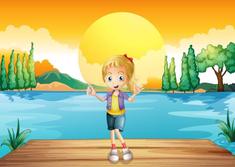Een jong meisje die zich boven de houten duikplank bevinden stock illustratie