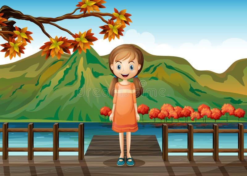 Een jong meisje die zich in het midden van de houten brug bevinden vector illustratie