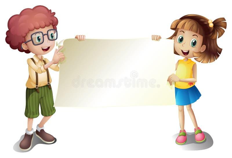 Een jong meisje en een jonge jongen die een leeg uithangbord houden vector illustratie