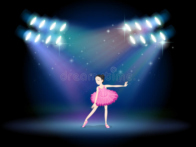 Een jong meisje het dansen ballet met schijnwerpers stock illustratie