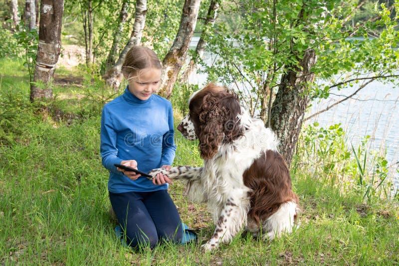 Een jong meisje toont iets aan haar hond in een mobiele telefoon Een kind speelt met een hond en een telefoon royalty-vrije stock foto