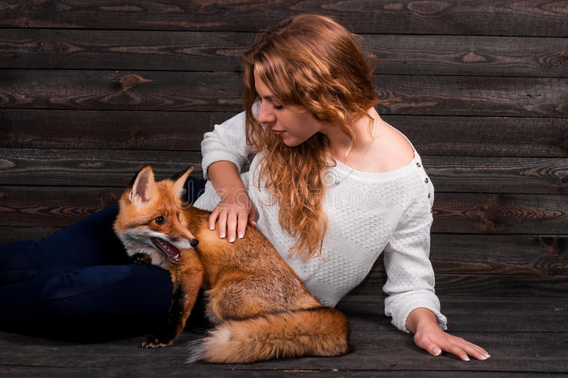 Een jong mooi meisje die een wild vosdier houden dat door een mens werd getraumatiseerd en door haar en nu leeft zoals voordien w royalty-vrije stock foto
