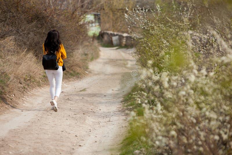 Een jong reizigersmeisje zit op de bovenkant van vallei Het jonge wilde leven van de meisjesliefde, reis, vrijheid royalty-vrije stock foto