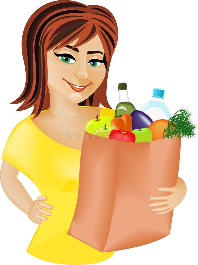 Roodharig meisje met voedsel royalty-vrije illustratie