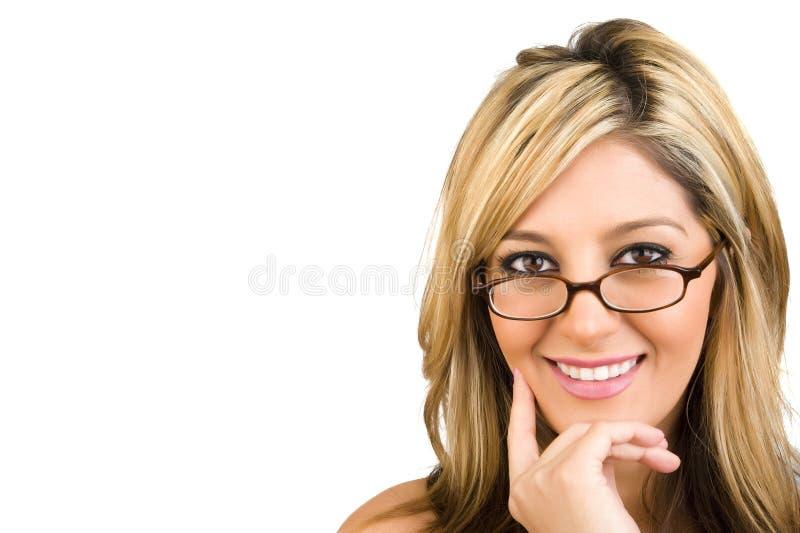 Een jonge bedrijfsvrouw in glazen stock foto