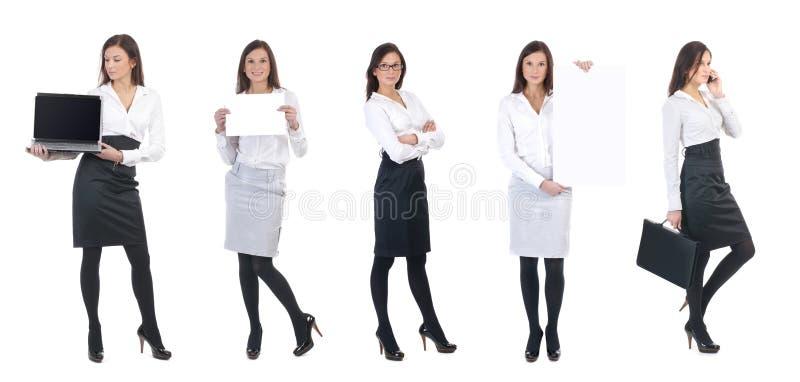 Een jonge bedrijfsvrouw met bureaupunten stock fotografie