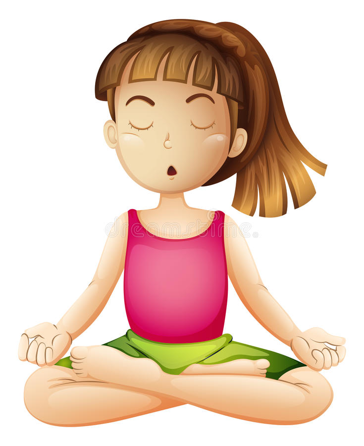 Een jonge dame die alleen yoga doen stock illustratie