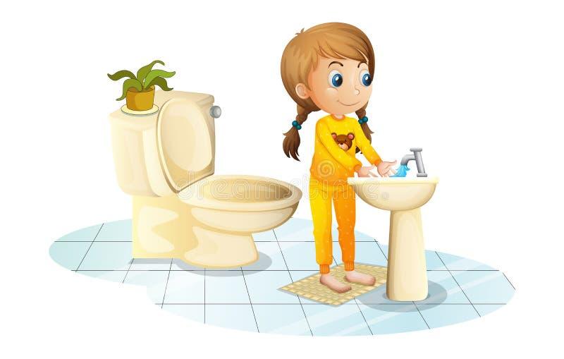 Een jonge dame die haar handen wassen stock illustratie
