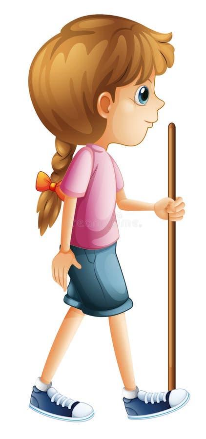 Een jonge dame die met een stok wandelen vector illustratie