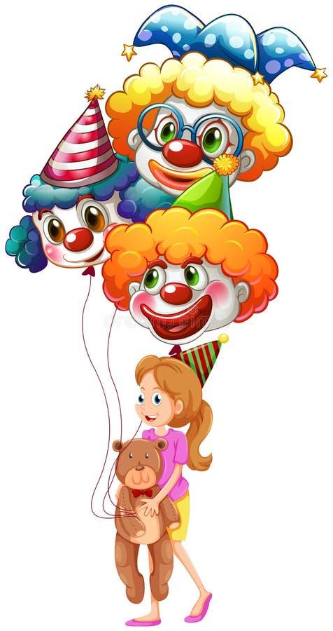 Een jonge dame met clownballons en een teddybeer stock illustratie