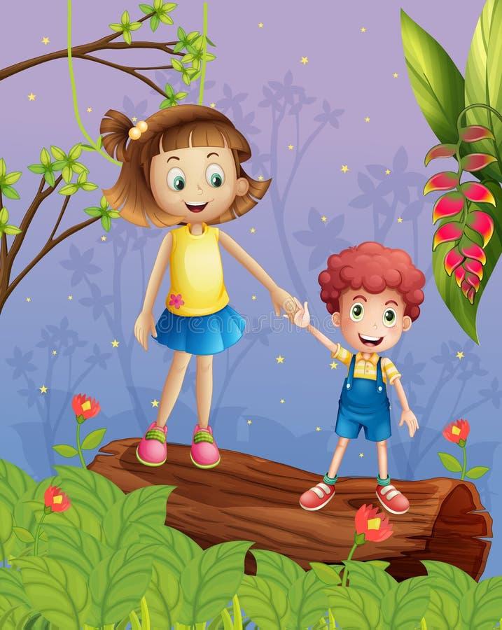 Een jonge dame met een jonge jongen in het bos royalty-vrije illustratie