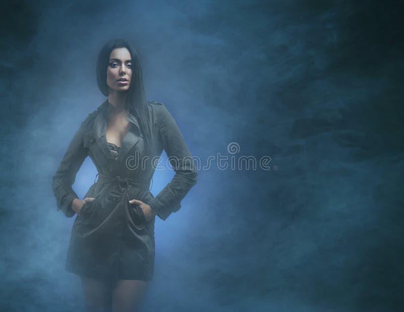 Een jonge en sexy donkerbruine vrouw op een mistige achtergrond royalty-vrije stock afbeeldingen