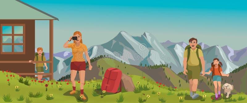 Een jonge familie kwam in de bergen rusten en aard bewonderen stock afbeeldingen