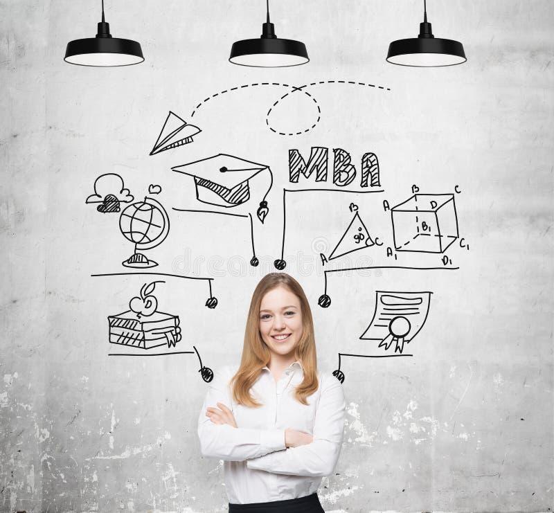Een jonge glimlachende dame denkt over MBA-graad De onderwijsgrafiek wordt getrokken achter haar Een concept verder bedrijfsonder royalty-vrije stock fotografie