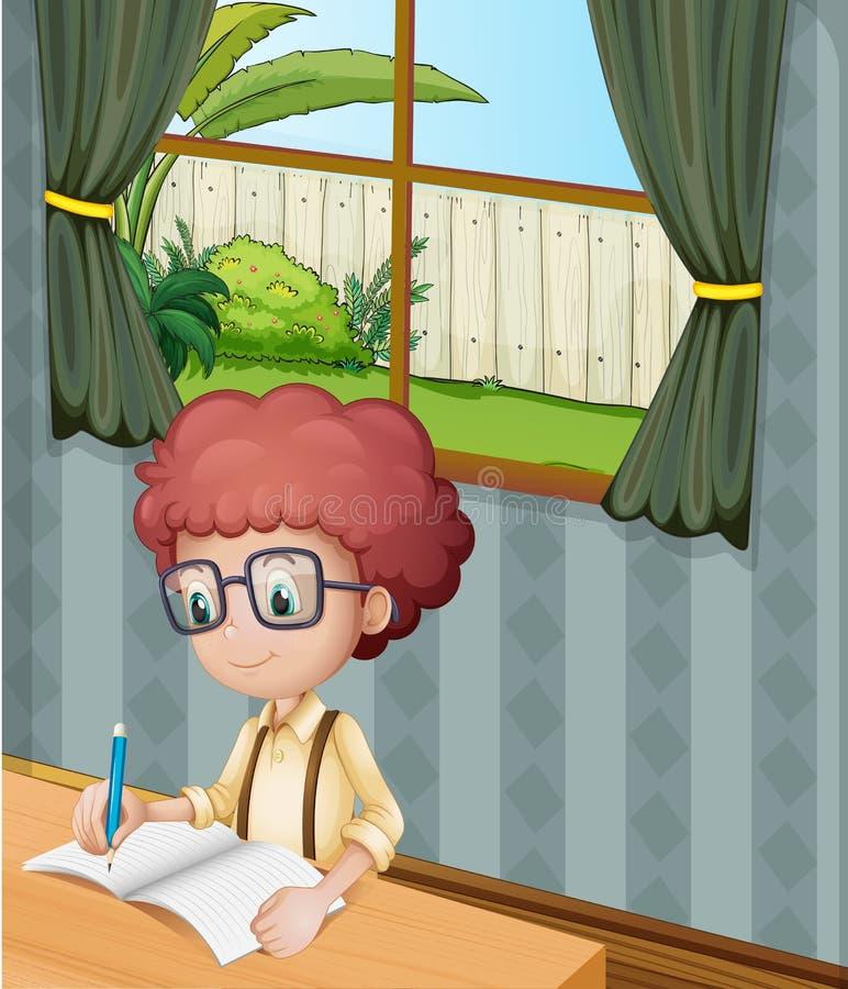 Een jonge jongen die binnen het huis schrijven stock illustratie