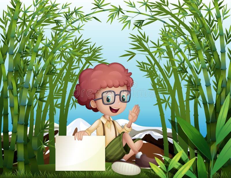 Een jonge jongen die een leeg uithangbord in het bamboeregenwoud houden royalty-vrije illustratie
