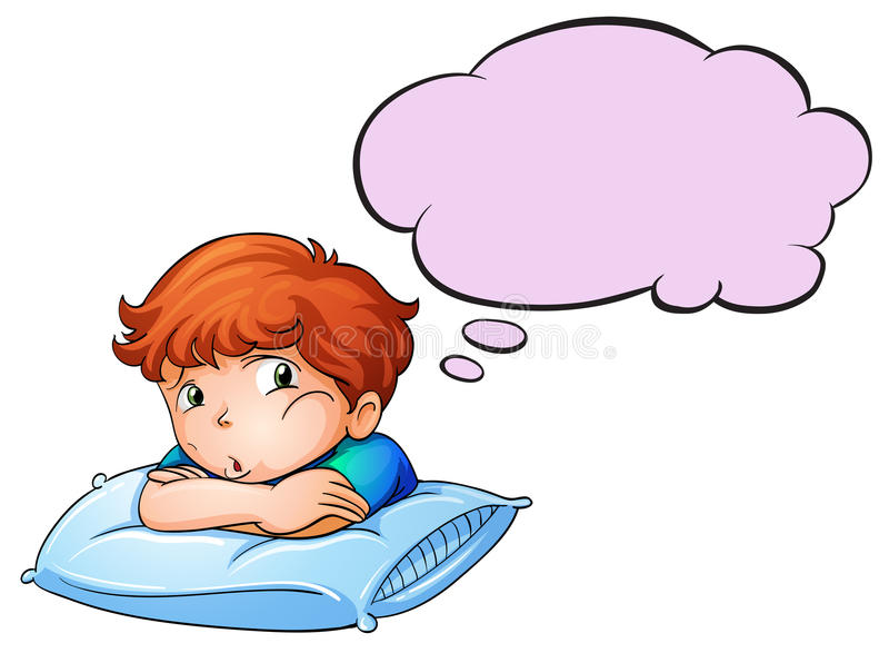 Een jonge jongen die over het hoofdkussen met een lege callout leunen stock illustratie