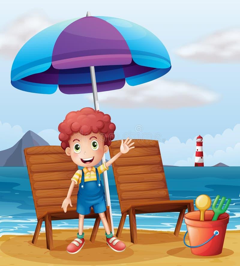 Een jonge jongen die zich bij het strand bevinden vector illustratie