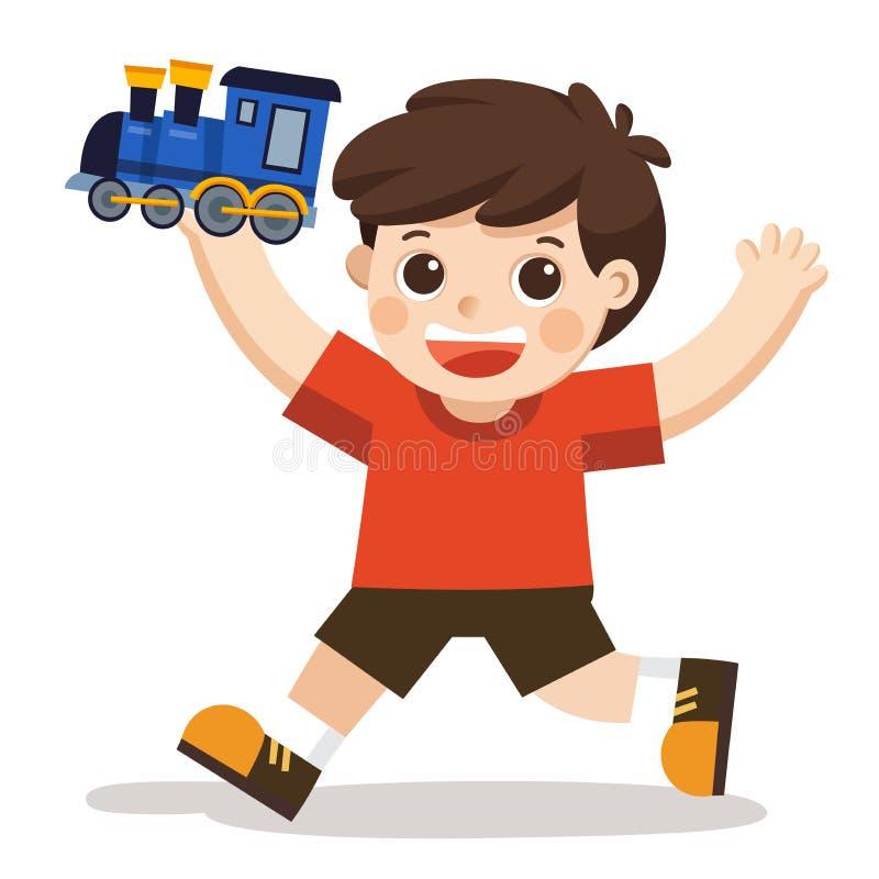 Een jonge jongen die zijn blauw treinstuk speelgoed spelen stock illustratie