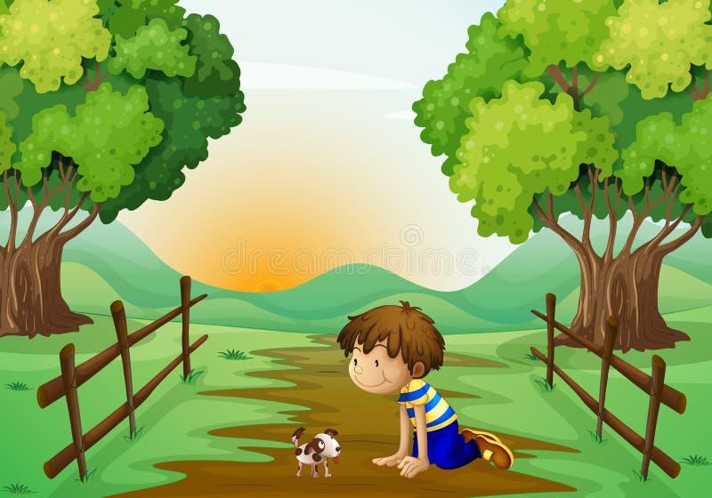 Een jonge jongen en zijn huisdier royalty-vrije illustratie