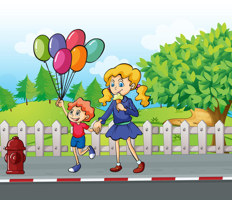 Een jonge jongen met ballons en een meisje die een roomijs eten royalty-vrije illustratie