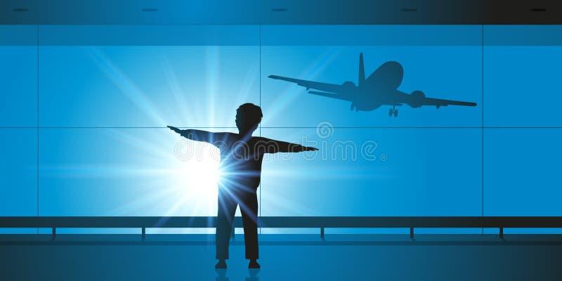Een jonge jongen spreidt zijn wapens uit om de vleugels van een vliegtuig na te streven royalty-vrije illustratie