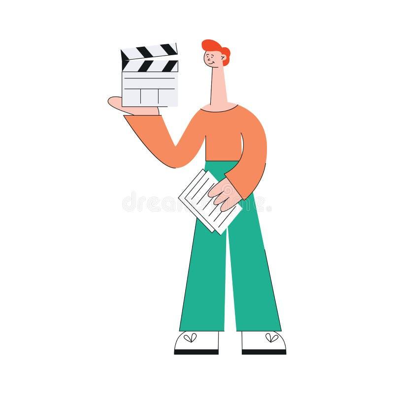 Een jonge Kaukasische rode haired mens is betrokken bij het schieten van de video royalty-vrije illustratie