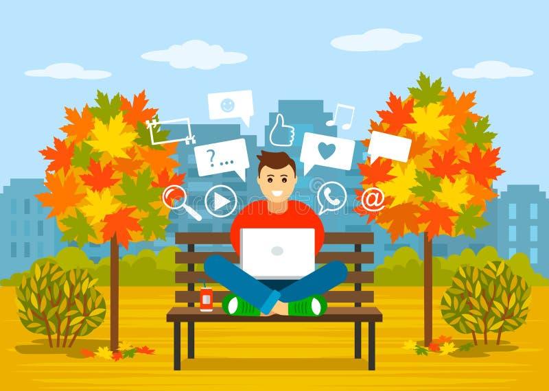 Een jonge kerel zit op een bank met laptop in een de herfstpark in sociale netwerken op zoek naar informatie Het concept a royalty-vrije illustratie