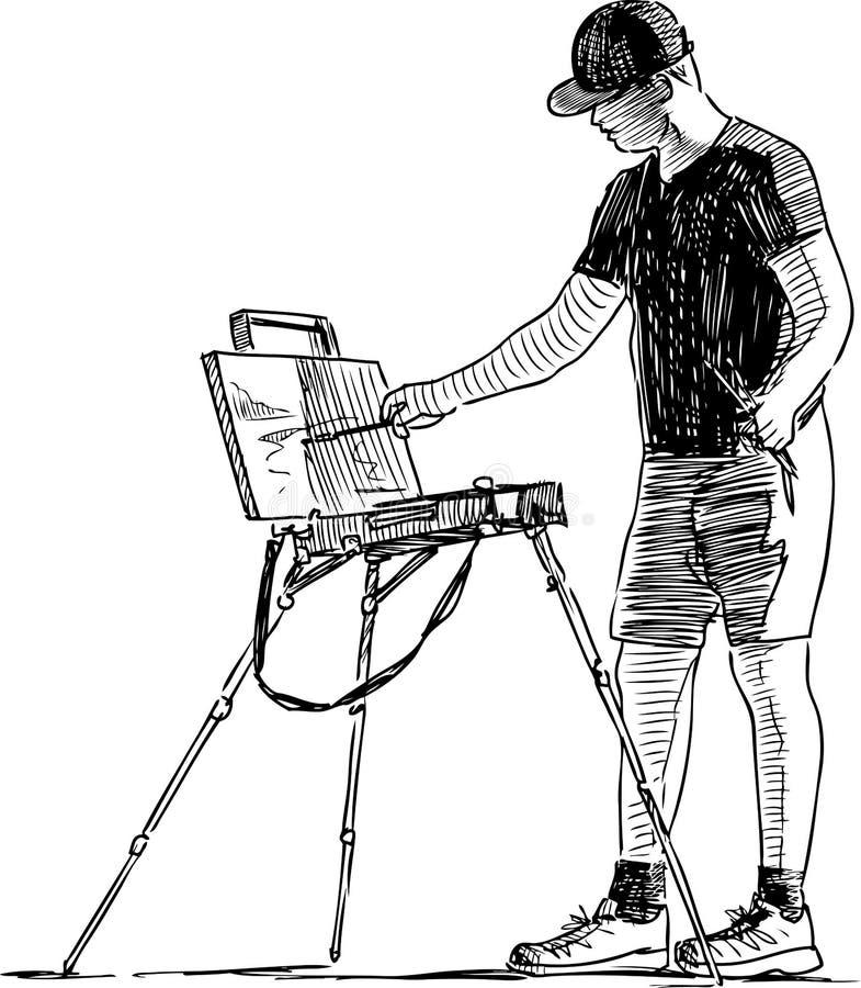 Een jonge kunstenaar die in openlucht schilderen royalty-vrije illustratie