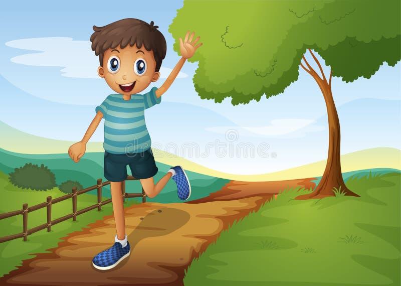 Een jonge mens die terwijl het lopen golven royalty-vrije illustratie