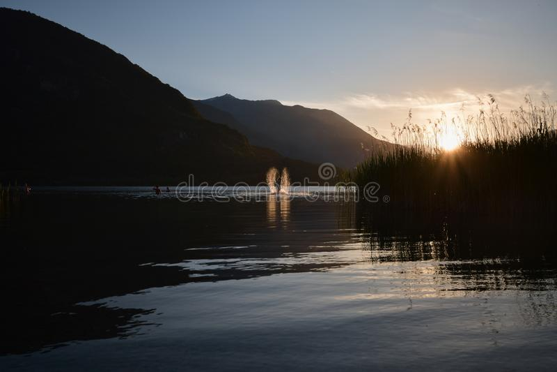 Een Jonge mens die uit het water in een mooie zonsondergang springen stock foto